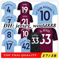 Wholesale Man City Soccer Jerseys - TOP QUALITY 17 18 KUN AGUERO G.JESUS Home blue Soccer Jersey SANE STERLING SILVA KOMPANY DE BRUYNE CITY TOURE YAYA Away football shirt