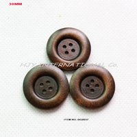 Wholesale Wholesale Sewing Buttons Bulk - (100pcs lot) 4 holes wide edge wooden button bulk hat crafts dress sewing buttons washable 30MMM-BG0037