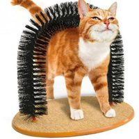 Wholesale Dog Massager - Arch Pet Cat Self Groomer Brush Massager With Round Fleece Base Cat dog Toy Brush Pets Toys Purrfect Scratching Devices CCA7650 50pcs