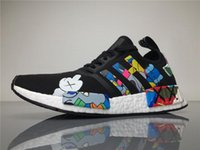 Wholesale Wholesale Fall Fabric - Originals KAWS X NMD S31526 R1 Real Boost Running Shoes Womens Mens Kaws NMDS Sneakers Men Athletic Shoes Size 40-45 Boosts