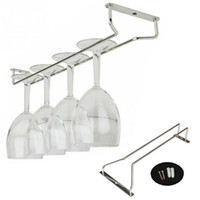 Wholesale Wine Holder Set - Wholesale-High Quality 35cm Chrome Plated Wine Champagne Glass Cup Hangers Rack Holder+Screws Set