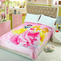 Wholesale Wholesale Princess Beds - New Arrival Flannel Blankets Sofia Prince Princess Fairy Tales Love 150*200cm for Bed or Sofa High Quality Warm Plain Kids and Adults