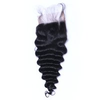 Wholesale 24inch Human Hair Weave - 7A 4*4 Lace Closure Deep Wave Unprocessed Human Hair Brazilian Indian Malaysian Peruvian Natural Color 8-24inch DHL Free Shipping