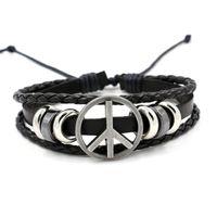 Wholesale Indian Cheap Wholesale Goods - Fashion Leather Bracelet Peaceful Anti-war Signs Infinity Bracelets Spread the good cheap simple bracelet wholesale supply