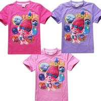 Discount boys purple t shirt - 3 Color Trolls Poppy Branch Boy girl T-shirts new children cartoon Poppy Biggie Short sleeve T-shirts baby clothes B