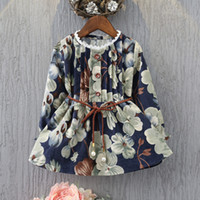 Wholesale Painting Boats - Girls Painting Flower Dresses with Braid Sash 2017 Autumn Kids Boutique Clothing Korean 3-8Y Girls Long Sleeves Corduroy Dresses