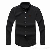 Wholesale Polo Neck Dress - POLO Wholesale 2018 autumn and winter men's long-sleeved Dress shirt pure men's casual POLO shirt fashion Oxford shirt social brand clothing
