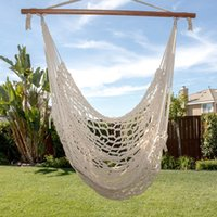 Braided outdoor swing hammock - Deluxe Cotton Hammock Rope Chair Patio Porch Yard Tree Hanging Air Swing Outdoor