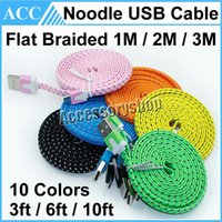 Wholesale Weave Line - Micro USB Cable 1M 2M 3M 3ft 6ft 10ft Lengthed Flat Noodle Braided USB Data Cable Woven Charging Cord Charger Line For Samsung HTC 100pcs