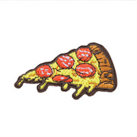 Wholesale cartoon patch clothing online - 10 Pizza Patches for Clothing Bags Iron on Transfer Applique Cartoon Patch for Clothes Jeans DIY Sew on Embroidery Badge