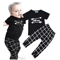 Wholesale Girls One Set Retail - Retail Arrow Pattern Boys Girls Clothing Sets Summer Style Wild One Letter Printed T-shirt+Plaid Pants 2pcs Set Bobo Choses Baby Clothes Set
