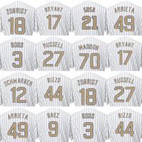 Wholesale Ross Gold - 2017 Men's Chicago Jersey 49 Jake Arrieta 70 Joe Maddon 3 David Ross Gold Baseball Cool Base Jerseys