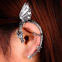 punk dragon ear cuff toptan satış-Moda Metal Klip Kulak Manşet Damızlık kadın Punk Stil Wrap Ejderha Küpe YOK Kulak Delik Girlladies Takı Için