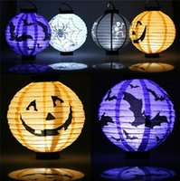 Lanternes de papier d'Halloween Lanterne de citrouille pendante avec Halloween Décoration Décoration Lanternes avec LED Light Skeleton Bats Jack-O Spiders