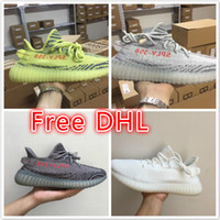 Wholesale Dhl Men Shoes - Free DHL 350V2 shoes Beluga 2.0 semi Froze Cream White Zebra Bred Sneakers Training Shoes Fashion Women Men Streetwear Running Sports Shoe