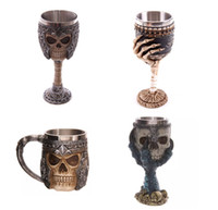 Wholesale Glass Bottles For Drinks - Resin Stainless Steel Drinking Mug 3D Multi Skull & Spine Goblet Horror Decor Cup for Halloween Bar Party Red Wine Glass 200ml Free Shipping