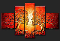 Wholesale Canvas Art Framed Tree Oil - 100% Hnapainted Painting Red Kissing Tree Paint Modern Abstract Art 5panels Canvas with Frame Home Decor