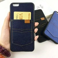 Wholesale Denim Phone Cases - Denim Jeans phone case for iPhone 6 6s 4.7 Jeans pocket card TPU back cover protective shell