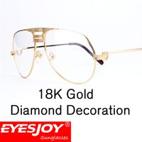 Wholesale myopia eyes - Luxury Eyeglasses Frames Men Eyeglasses Women Diamonds Metal Frame Eye Clear Myopia Glasses Original Eyewear with Glasses Box CT1130
