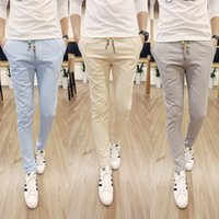 Wholesale Hot Cotton Linen Pants - Wholesale-2015 Hot Sale New Stylish High Quality Men Casual Pants Solid Color Cotton Pants Slim Men's White Trousers Free Shipping M-5XL