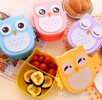 Wholesale Plastic Lunchboxes - Lovely Cartoon Owl Lunchbox Bento Box Food Fruit Storage Container Plastic Lunch box Microwave Cutlery Set for Children