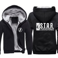 Wholesale Mens Zip Up Hoodie Black - Mens Casual The Flash Star Laboratories Logo Hoodies Zip up Winter Super Warm Fleece Sweatshirt Size M-3XL