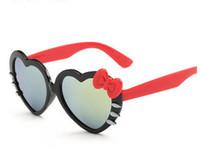 Wholesale Bow Glasses Frame - Baby Children Kids Boys Girls Sunglasses Shades Protection Childrens love heart Kids bow Cat dazzling Glasses Girls gift T4838