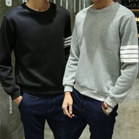 Wholesale Japanese Style Men Hoodies - Men Casual Hoodies Hip Hop O Neck Long Sleeve Pullover Sweatshirts Striped Uniform Winter Autumn Japanese Style Blue Gray Black L-2XL