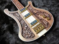 manche de guitare basse en érable achat en gros de-RIC 4003 Bastard LK Lemmy Kilmister Edition Limitée Noyer Naturel Sculpté À La Main Guitare Basse Électrique Cou Par Le Corps, Reliure En Damier