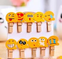 Wholesale Wooden Postcards Wholesale - QQ Emoji Wooden Clips Smiling Face Postcard Photo Clip Family Decorative Articles Clothespin Gift For Children 0 13hy C R
