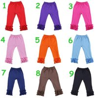 Wholesale Double Ruffle Pants - children girl 9style Red orange Solid color Ruffle pants baby girl Double Ruffles Flare Pants Fancy Flare Pants 10pcs