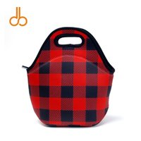 29cm * 15cm * 29cm Plaid rosso in neoprene alimentare Carrier Blanks all'ingrosso Lunch Box Cooler Bag Christmas Check Accessori Holder Tote DOM106356
