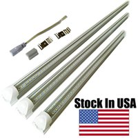 Wholesale T8 Cree Led Light Tube - T8 V shaped 8ft led tube lights integrated 2ft 3ft 4ft 5ft 6ft 8 foot cooler door lighting double row shop lights tubes fluorescent fixture