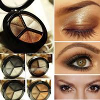 çıplak göz paleti toptan satış-Makyaj Çıplak Göz Farı Paleti 3 Renkler Dumanlı Kozmetik Set Profesyonel Doğal Mat Göz Farı Paleti Makyaj Glitter
