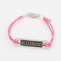 Wholesale antique bracelet love for sale - Hot New men and women fashions pink Wax lines with Antique silver Alloy quot Best Friend quot Charm Adjustable String Bracelet
