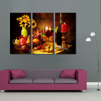 Wholesale Red Candlesticks - 3 Pieces Wall Art Painting Fruit And Red Wine Beside Candlestick Pictures Prints on Canvas Picture For Home Living Room Decoration Unframed