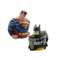 Wholesale Wholesale Batman Piggy Banks - Super Man Batman 2pcs 8 inch Action Figures Dolls model piggy bank piggy bank Large toys retail 1206#06