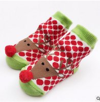 Wholesale Wholesale Red Baby Socks - Christmas socks red kids cute moose knitting soft socks winter newborn kids polka dots cotton warm socks baby indoor floor stocking T0527