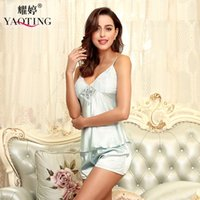 Wholesale Ladies Pajama Skirts - 2017 YaoTing New sexy ladies lace pajamas Summer thin section ice silk sleepwear two-piece sets Women's sling skirt short nightgown