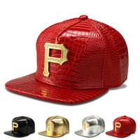 Wholesale Crocodile Sport - 2016 New style P Logo Golden PU Leather snapback baseball caps Diamond Crocodile Grain men women DJ Rap Sports hip hop hats