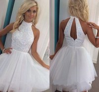 Wholesale Real Image Beaded Mini Dress - 100% Real Image White Tulle Short Homecoming Dresses High Neck Crystal Summer Short Party Dresses Keyhole Back Cheap Homecoming Dress