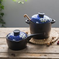 orchid ceramic pots - Modern housewife orchid series high temperature ceramic casserole casserole popular two piece pot milk pot set