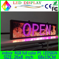 "Wholesale Color Led Message - Free shipping 26""x 8"" Programmable LED Scrolling Message Display Sign led panel Indoor Board P5 full color"