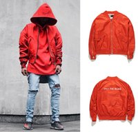 Wholesale Mens Flight Jackets - high quality mens oversized red shirring sleeve bomber jackets loose streetwear zipper letter mal flight jacket coats 2018