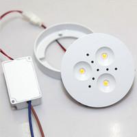 12v led de iluminación comercial al por mayor-Envío gratis 3W regulable LED Puck Light White Shell Blanco cálido natural fresco LED bajo las luces del gabinete para el hogar / luz comercial