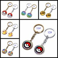 Wholesale Action Man Car - Wholesale 12 Styles Cartoon Pocket Pikachu Pokémon Action Figures Poke Ball Anime Keychain Keyring Pendant Halloween christmas gifts