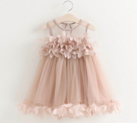 Wholesale Gauze Clothing Wholesale - 2017 Summer New Girl Fairy Dress Petal Fluffy Gauze Dress Sundress Children Clothes 2-6Y GE519