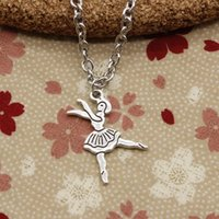 Wholesale Dancers Necklaces - New Fashion Tibetan Silver pendant ballet dancer girl 27*23mm Necklace, Round chain DIY Hand made Necklace Jewelry