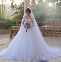 Wholesale Tiered Tulle Gown Style - Vintage Long Sleeves Wedding Dresses With Sweetheart Illusion Sweep Train Tulle Wedding Gowns Country Style African Dubai Bridal Dress