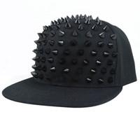 Wholesale Spiked Hip Hop Snapback - Hat Snapback Cap Men Women Spike Studs Rivet Cap Hip Hop Baseball Punk C00261 BARD